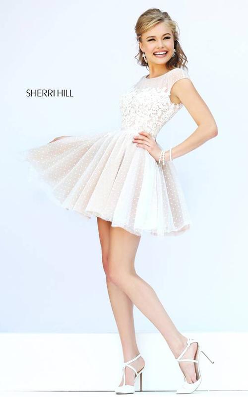 Sherri Hill 11267 Ivory Polka Dot Floral Mini Dress
