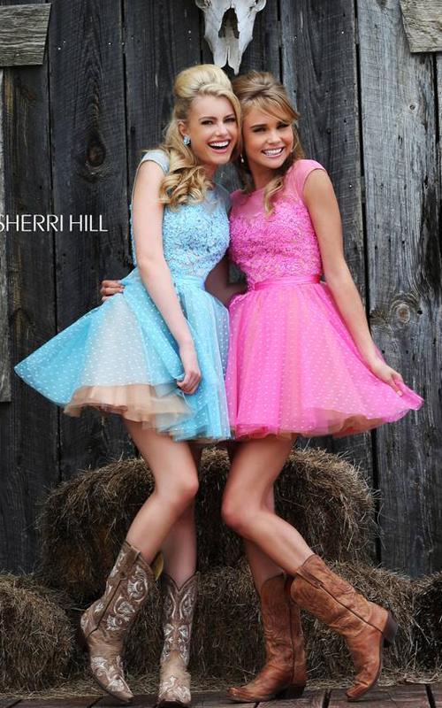 Sherri Hill 11267 Light Blue Polka Dot Floral Mini Dress