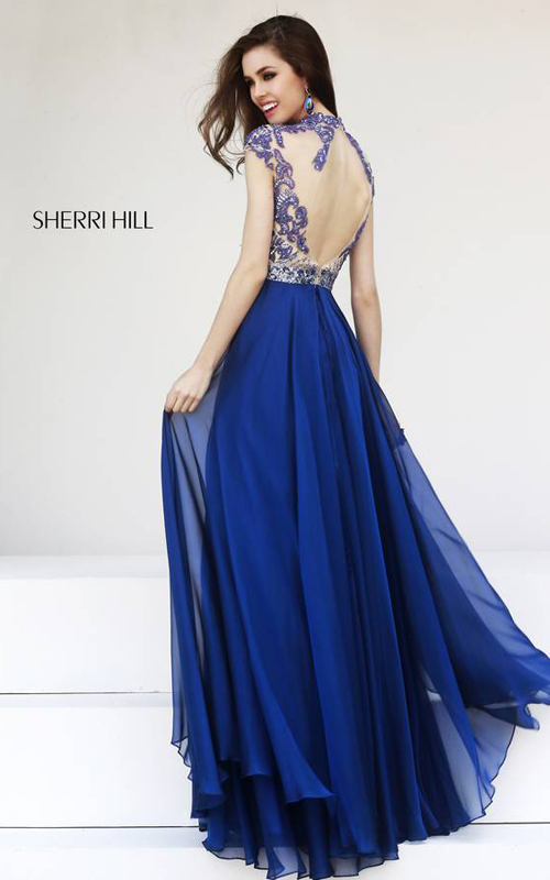 Sherri Hill 1933 Navy Cap Sleeves Gown-1