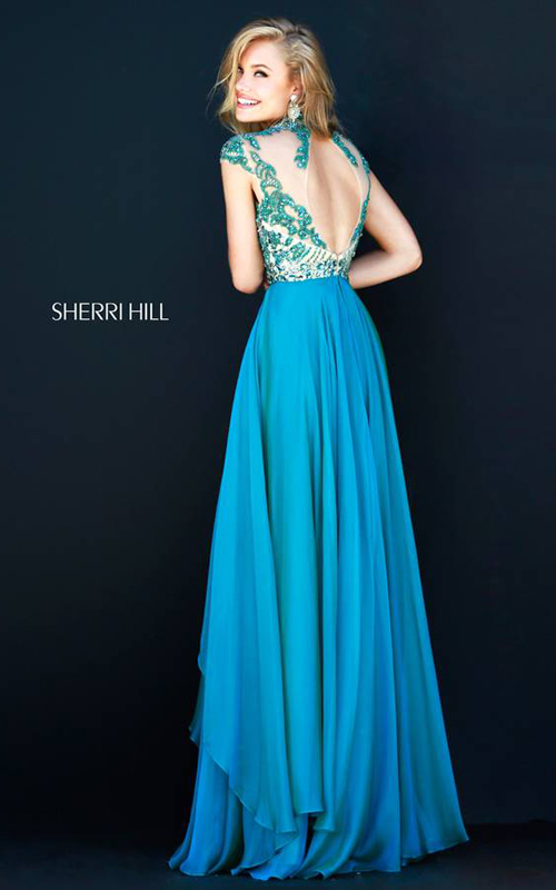 Sherri Hill 1933 Teal Cap Sleeves Gown-1