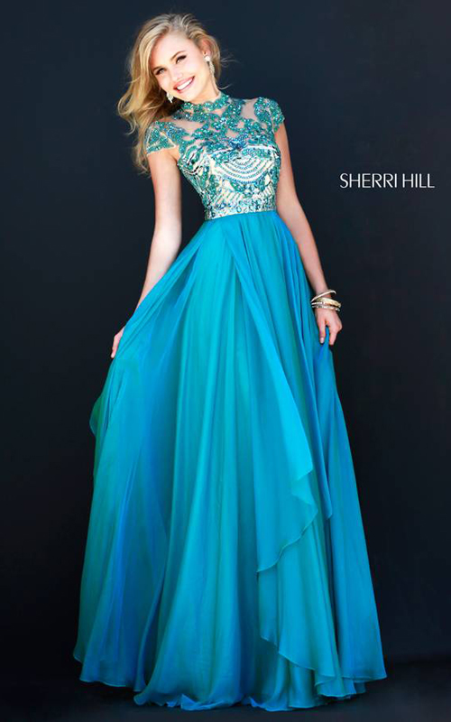 Sherri Hill 1933 Teal Cap Sleeves Gown