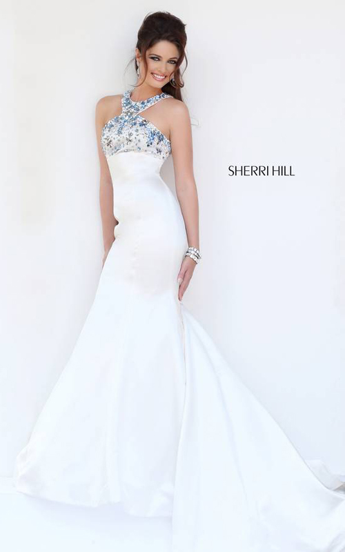 Sherri Hill 32153 Halter White Prom Dress 2015