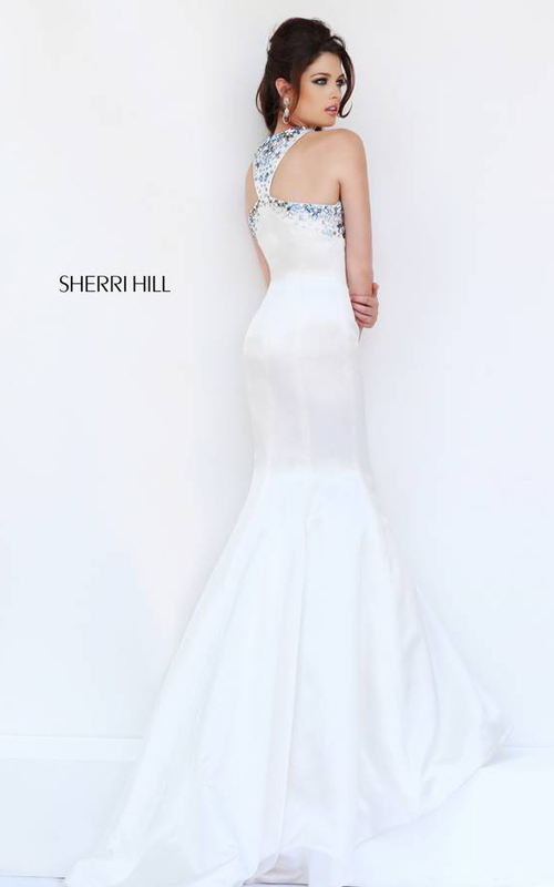 Sherri Hill 32153 Halter White Prom Dress 2015_01