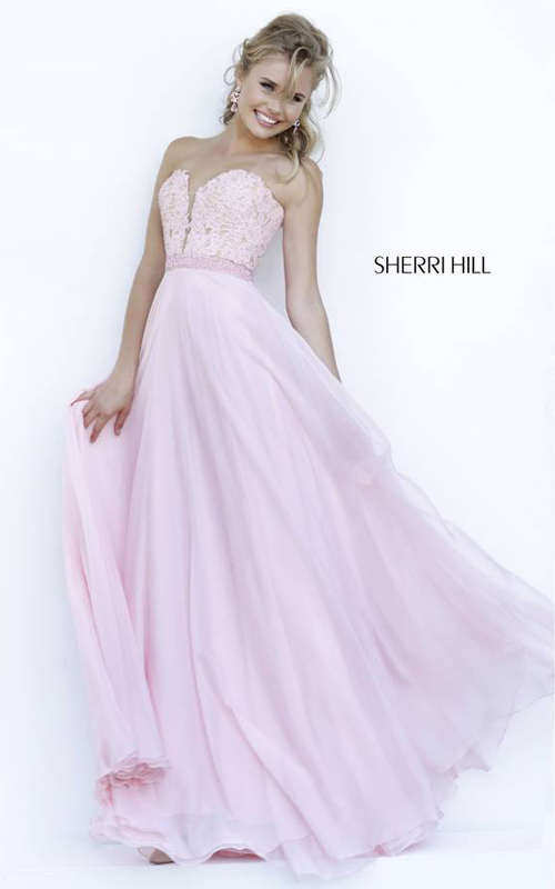 Sherri Hill 32180 Blush Lace Prom Dress 2015