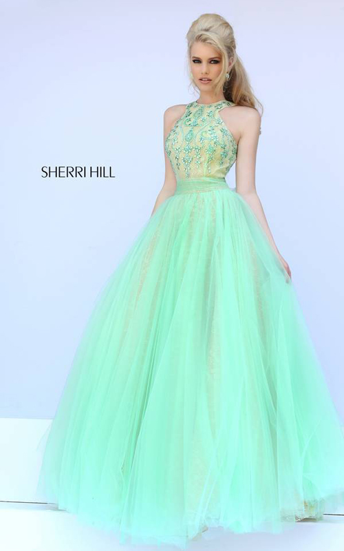 Sherri Hill 32218 Green Beads Prom Gown 2015