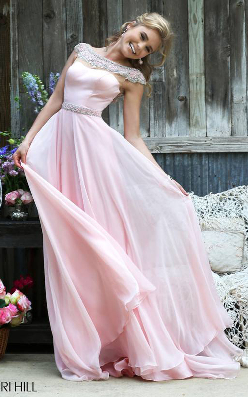 Sherri Hill 32220 Blush Flowing Evening Gown