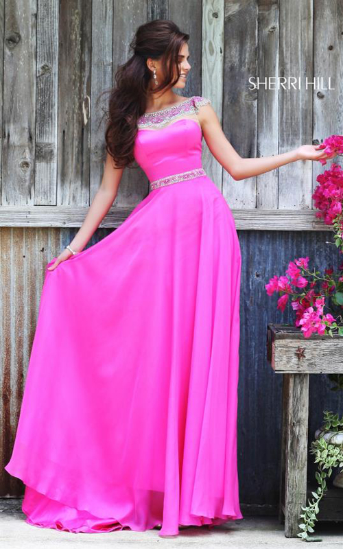 Sherri Hill 32220 Fuchsia Flowing Evening Gown