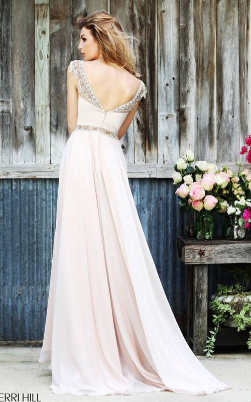 Sherri Hill 32220 Nude Flowing Evening Gown-1
