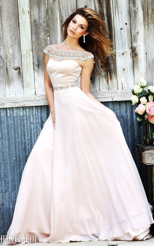 Sherri Hill 32220 Nude Flowing Evening Gown