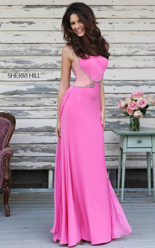 Sherri Hill 8558 Pink Beaded Jersey Evening Gown