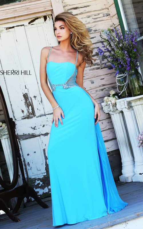 Turquoise Sherri Hill 8558 Beaded Jersey Evening Gown