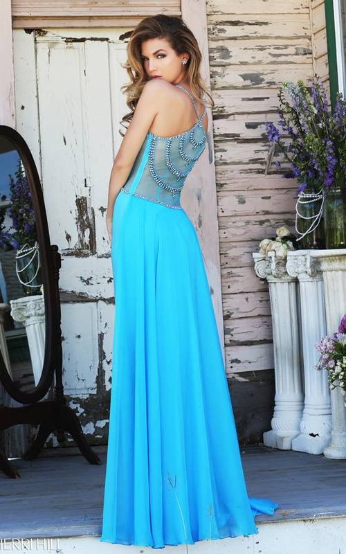 Turquoise Sherri Hill 8558 Beaded Jersey Evening Gown_01