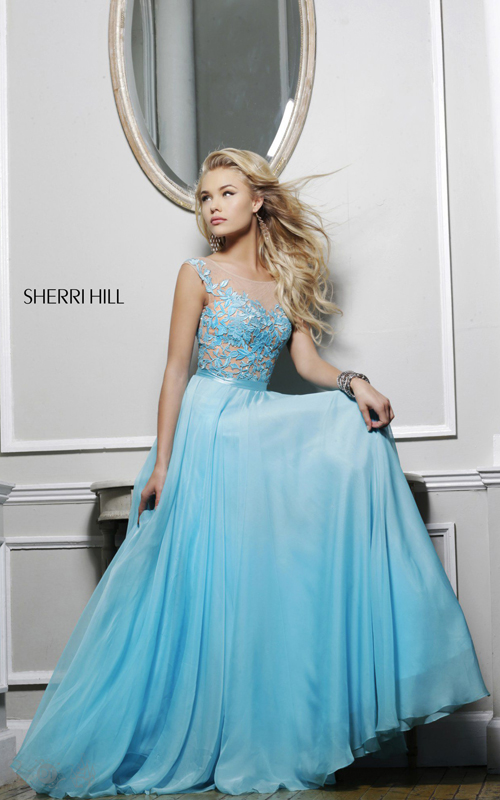 Unique Sherri Hill 11151 Evening Gown Aqua