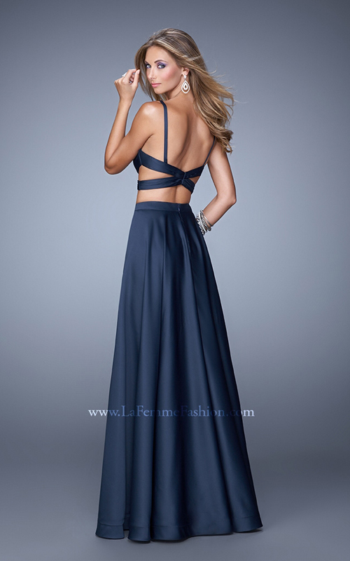 2015 Sexy Two Piece Dress Navy La Femme 21178_1