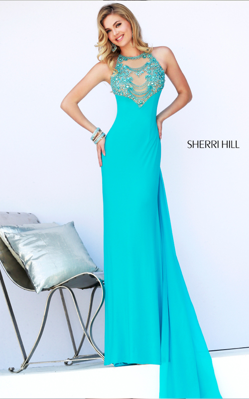Aqua Beads Sexy Prom Dress Sherri Hill 32043