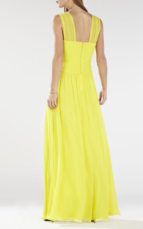 Astella BCBG Yellow Evening Dress Sleeveless Shirred_1