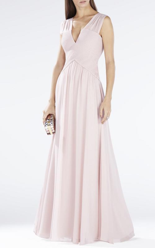 BCBG Astella Sleeveless Sherred Evening Gown Shell