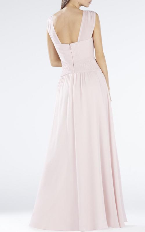 BCBG Astella Sleeveless Sherred Evening Gown Shell_1