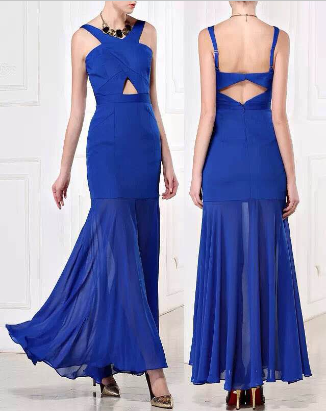 BCBG Crisscross Long Royal Evening Dress Sexy
