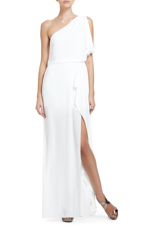 BCBG White Kendal One-Shoulder Ruffle Slit Evening Dress
