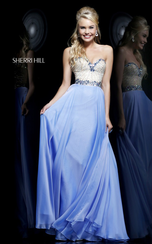 Beads Long Prom Dress Blue Sherri Hill 1923