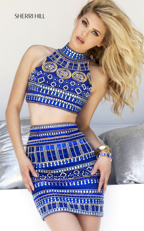 Beads Sherri Hill 11156 Royal Two-piece Sexy Dress