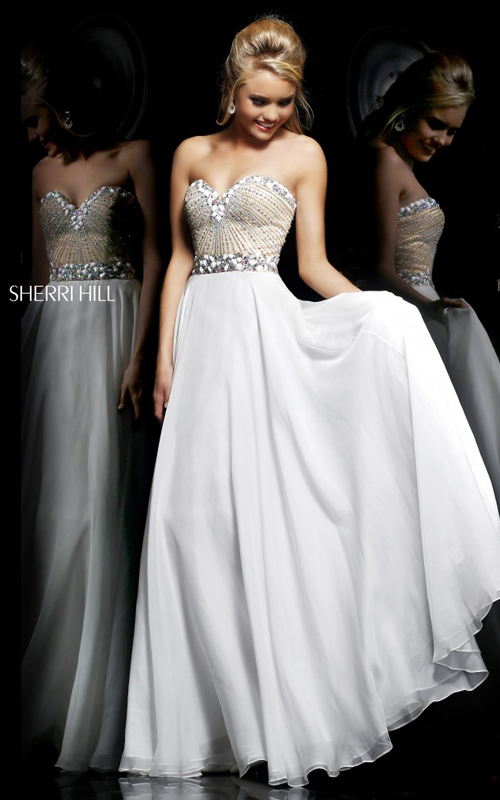 Beads Sherri Hill 1923 White Junior Prom Dress