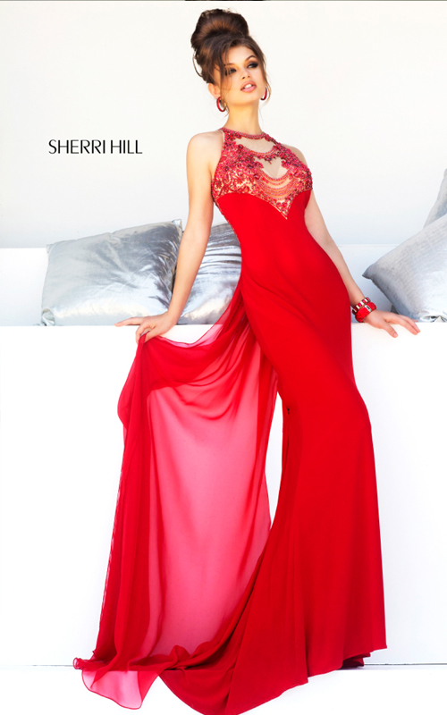Beads Sherri Hill 32043 Red Prom Gown Sexy