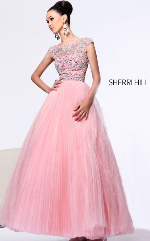 Blush Sherri Hill 2984 Beads Prom Gown V-back