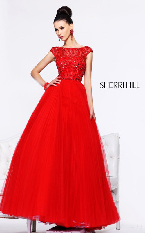 Cap Sleeves Sherri Hill 2984 Red Prom Dress
