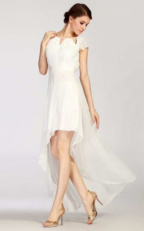 Chiffon Hi Low BCBG White Cocktail Dress Chic