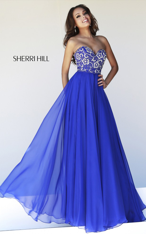 Chiffon Sherri Hill 8545 Strapless Prom Dress Royal