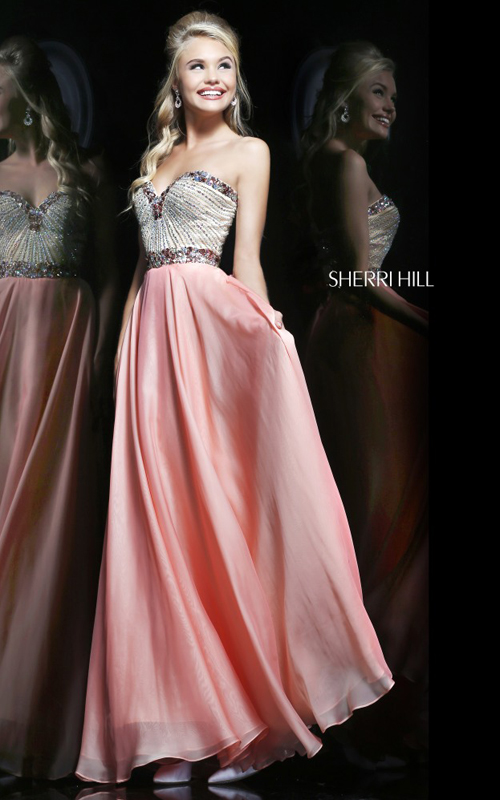 Coral Sherri Hill 1923 Chiffon Prom Dress