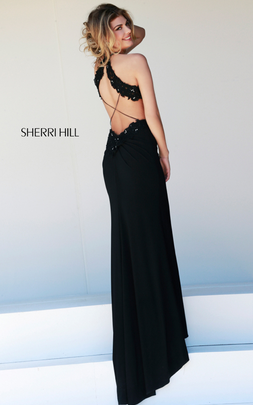 Cut-out Sherri Hill 32008 Black Sexy Prom Gown_01