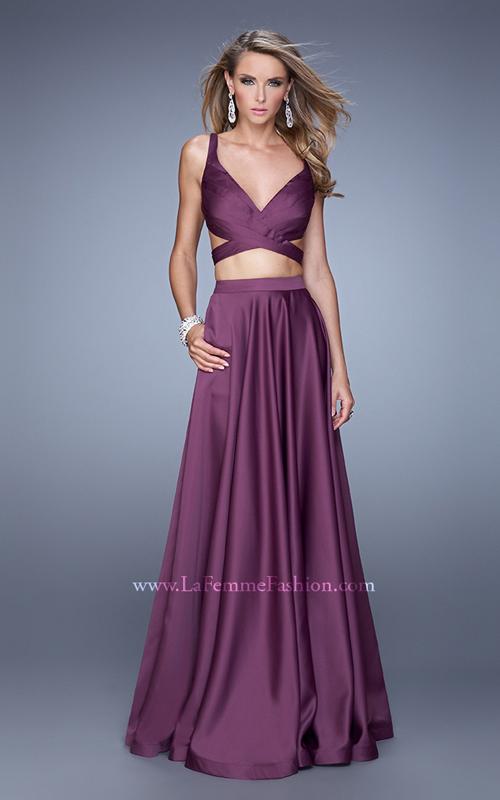 Eggplant La Femme 21178 Satin Sexy Prom Dress