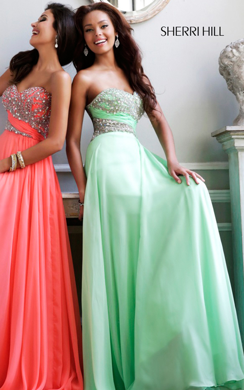 Green Beads Prom Gown Sherri Hill 3914