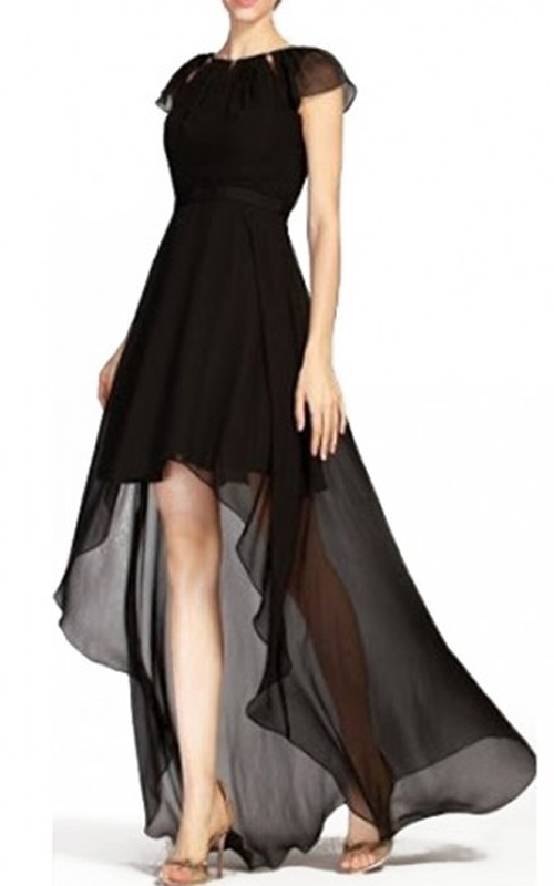 High Low Chiffon BCBG Open Back Dress Black