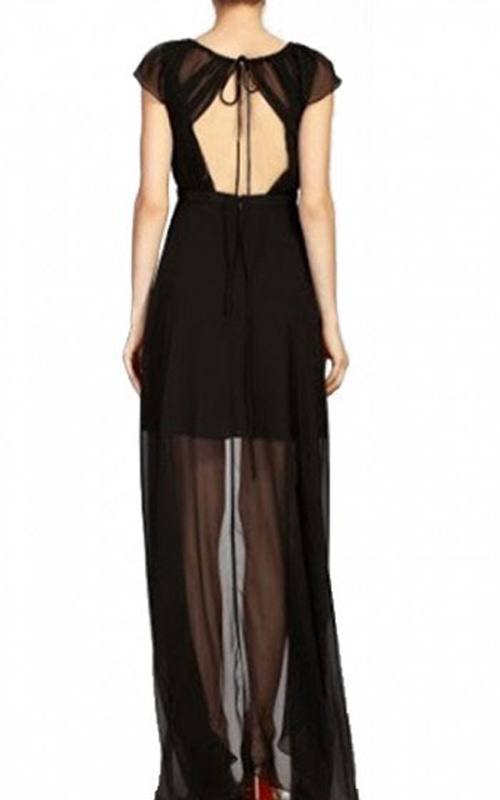 High Low Chiffon BCBG Open Back Dress Black_1