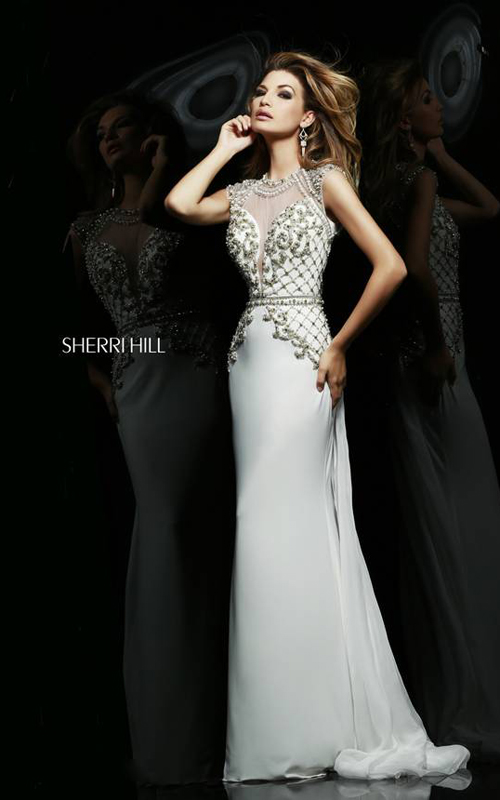 Ivory Sherri Hill 4327 Chiffon Jersey Evening Gown