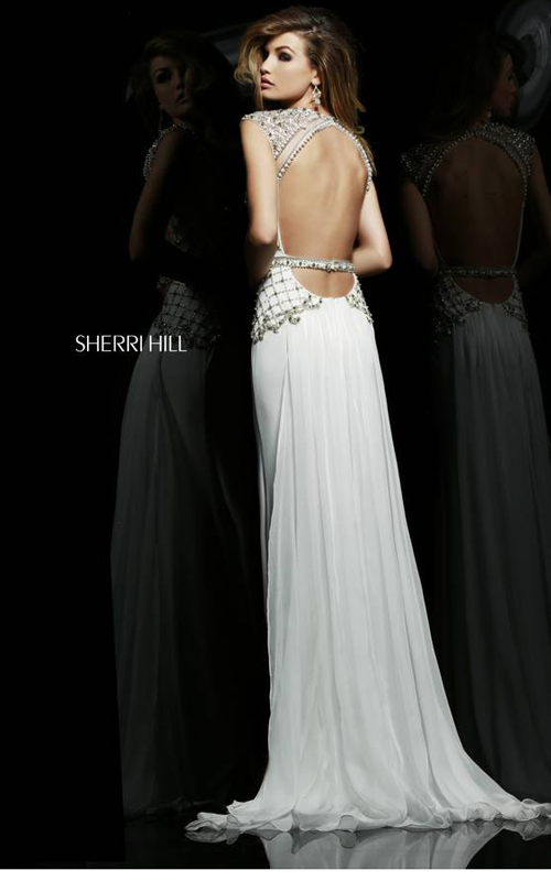 Ivory Sherri Hill 4327 Chiffon Jersey Evening Gown_01