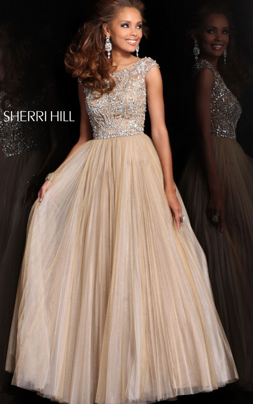 Nude Sherri Hill 2984 Beads Evening Gown Pleated