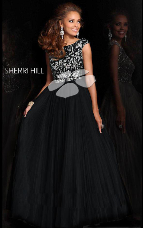 Pleated Sherri Hill 2984 Black Dress for Prom