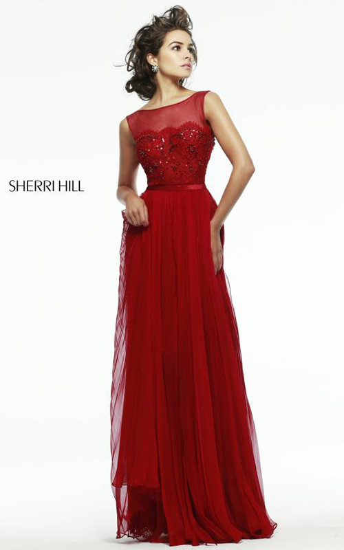 Red Sherri Hill 4804 Illusion Evening Dress