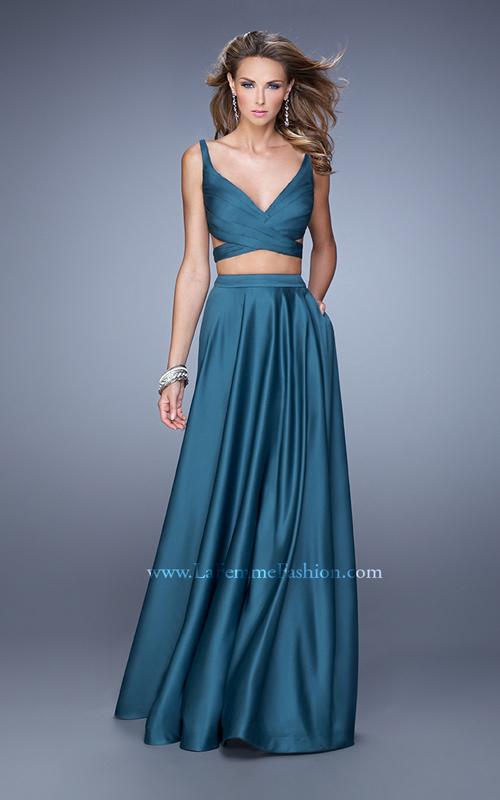 Satin Two Piece Gown 2015 Teal La Femme 21178