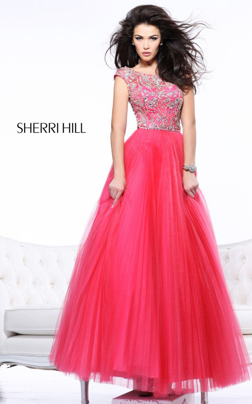Sherri Hill 2984 Pleated Beads Ball Gown Coral