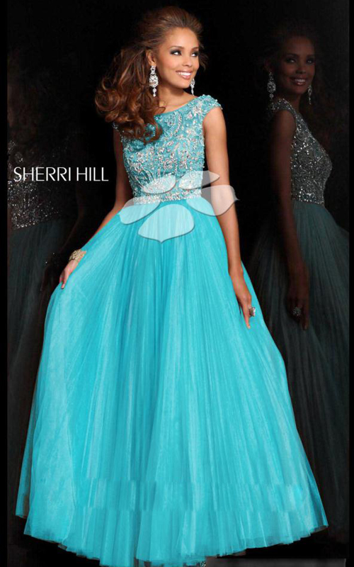 Sherri Hill 2984 Sequins Aqua Prom Dress Long