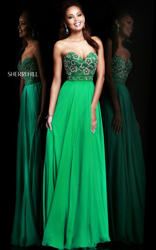 Sherri Hill 8545 Flowy Emerald Evening Gown Beads
