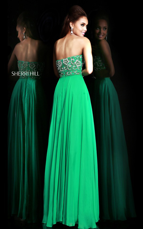 Sherri Hill 8545 Flowy Emerald Evening Gown Beads_01