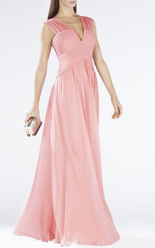 Sleeveless Shirred Coral Astella BCBG Evening Dress