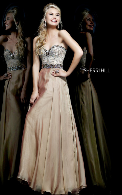 Strapless Evening Gown Nude Sherri Hill 1923